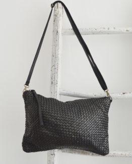 Tessa maxi borsa in pelle intrecciata colore nero, anteprima